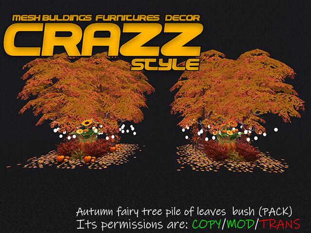 Autumn fairy tree pile of leaves  bush (Pack)