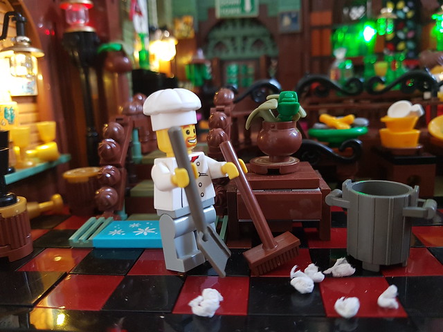 Cleaning up the pub Lego MOC.