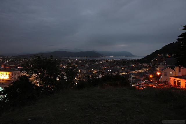 Llandudno Town and Mynydd y Dref (Conwy Mountain) at dusk.