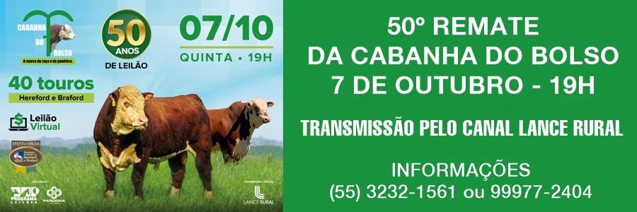 50º Remate Cabanha do Bolso - 7 de outubro, às 19h - transmissão Lance Rural