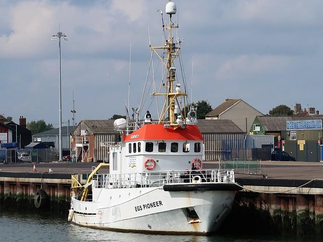 Survey vessel EGS Pioneer of Poole (Ex NSSR lifeboat Ada Waage, RS 85)