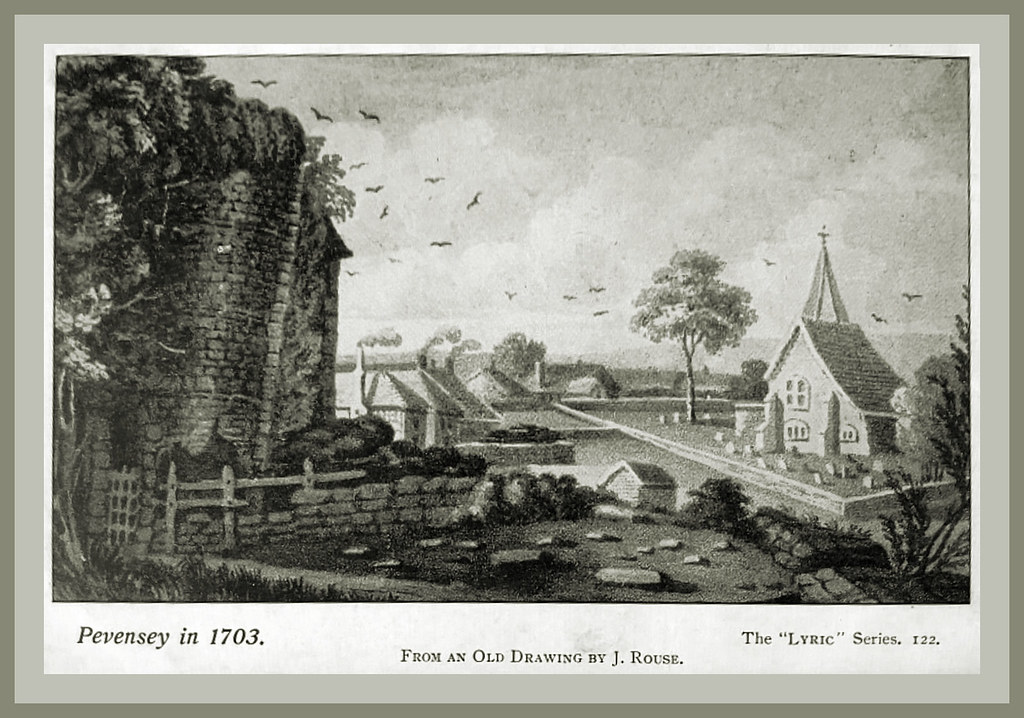Eastbourne past - Pevensey in 1703 - from a drawing by J Rouse