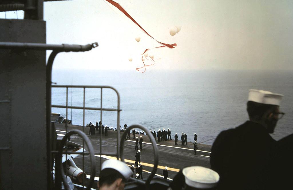 1965 - USS Coral Sea CVA-43 shows its homecoming pennant upon returning to San Francisco.