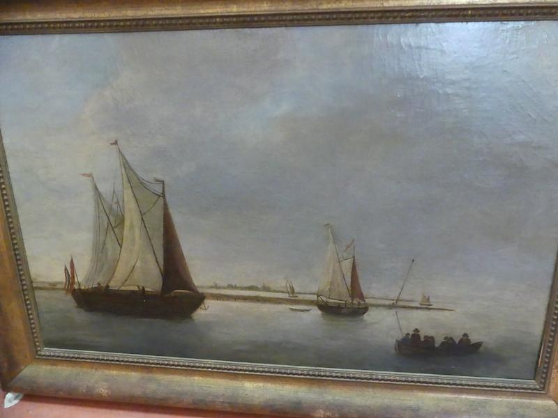 Tableau marine huile sur toile Hollande 19e