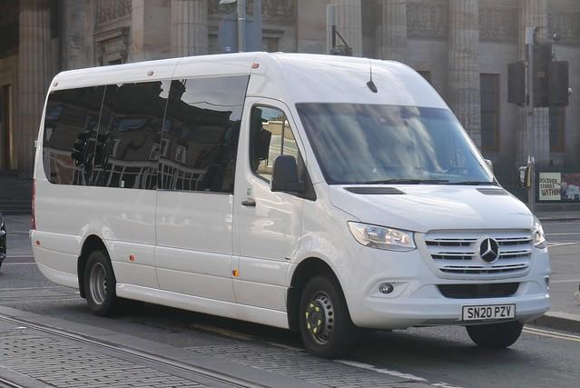 Rabbie's Trail Burners of Edinburgh Mercedes Benz 516CDi EVM SN20PZV at Princes Street, Edinburgh, on 16 September 2021.