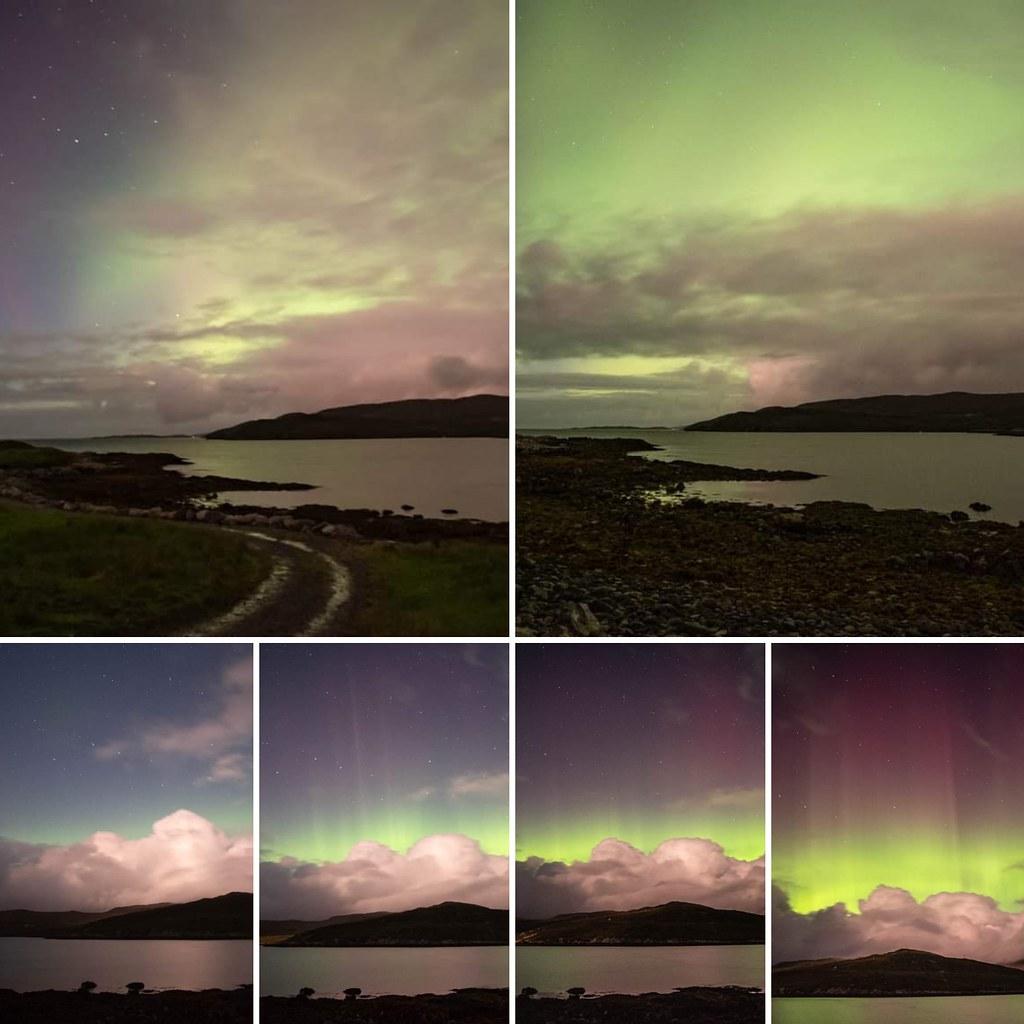 The progression of an aurora show.