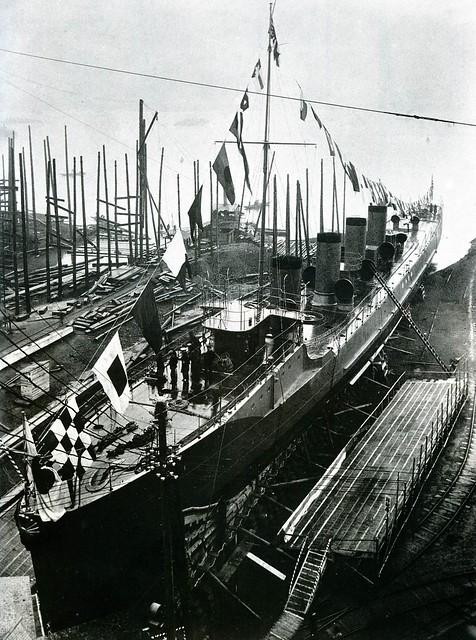 Yamakaze-class destroyer  launch day at the  Mitsubishi Nagasaki, 1911.