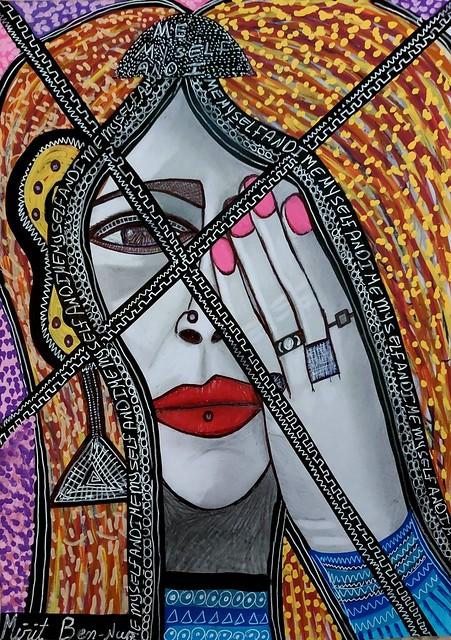 יצירה ישראלית מקורית אישה ציור אמנות ציירת עכשווית מודרנית פופ ארט