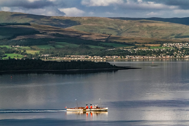 Waverley Paddle steamer sailing up the river Clyde Greenock Scotland