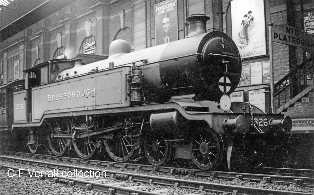 LBSCR J TANK 326 BESSBOROUGH in works grey at Brighton station