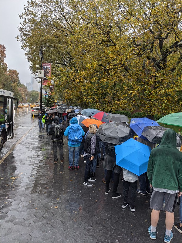 Queuing in the rain for Museum of Natural History