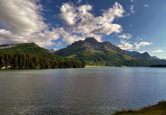 Lej da Segl (Silsersee, Lake of Sils) and Piz da la Margna (3159 m)