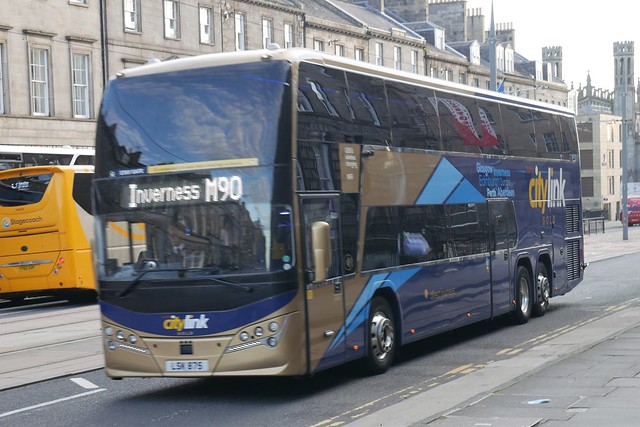 Parks of Hamilton Volvo B11RLET Plaxton Panorama LSK875, new in October 2020, in Citylink Gold livery, operating service M90 to Inverness at York Place, Edinburgh, on 16 September 2021.