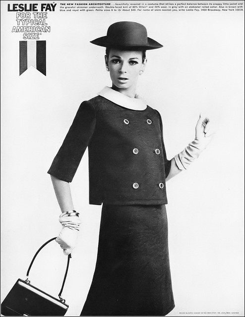 Anne de Zogheb in gray double-faced knit dress and jacket with a white rolled collar by Leslie Fay, Harper's Bazaar, August 1965