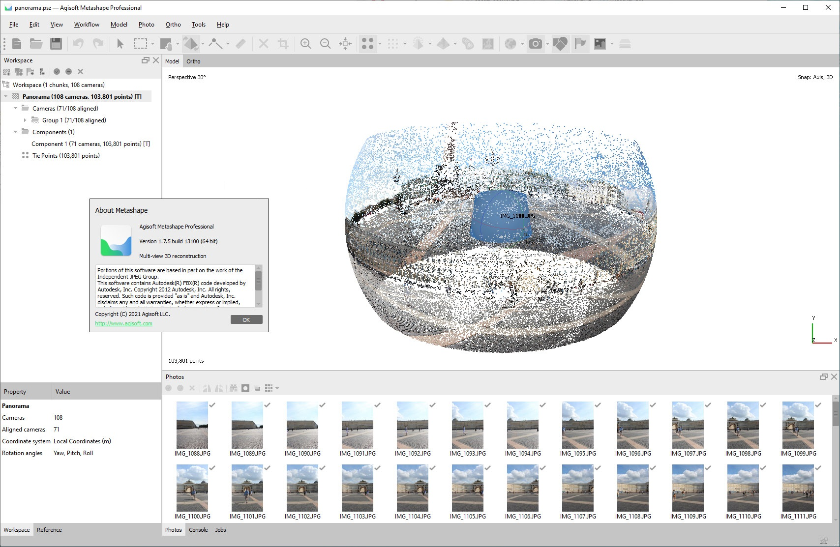 Working with Agisoft Metashape Pro v1.7.5 build 13100 x64 full