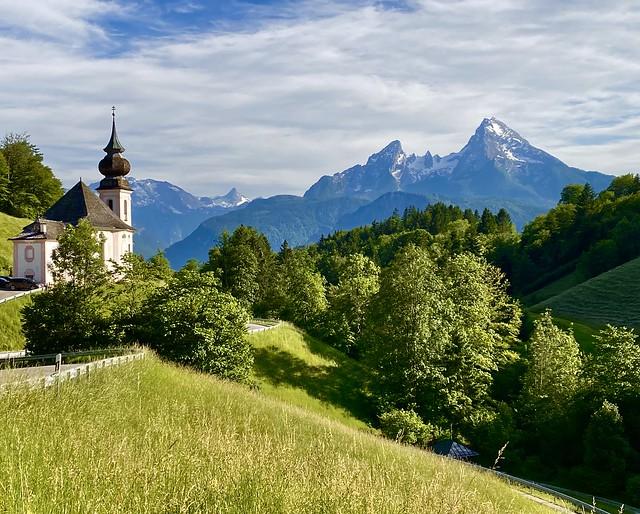 Maria Gern church and Watzmann (2713 m)