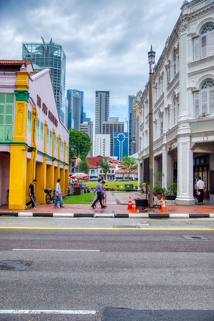 Through the Gap - View from Chinatown towards the Central Business District (CBD) in Singapore