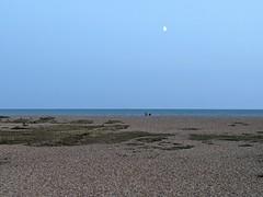Eastney Beach, under the rising moon..