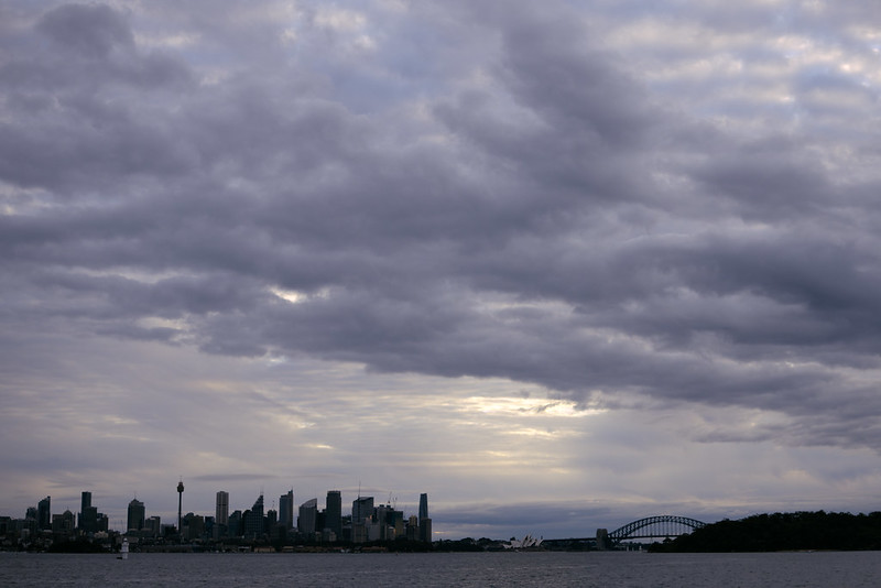Sydney city, late afternoon, from Milk Beach