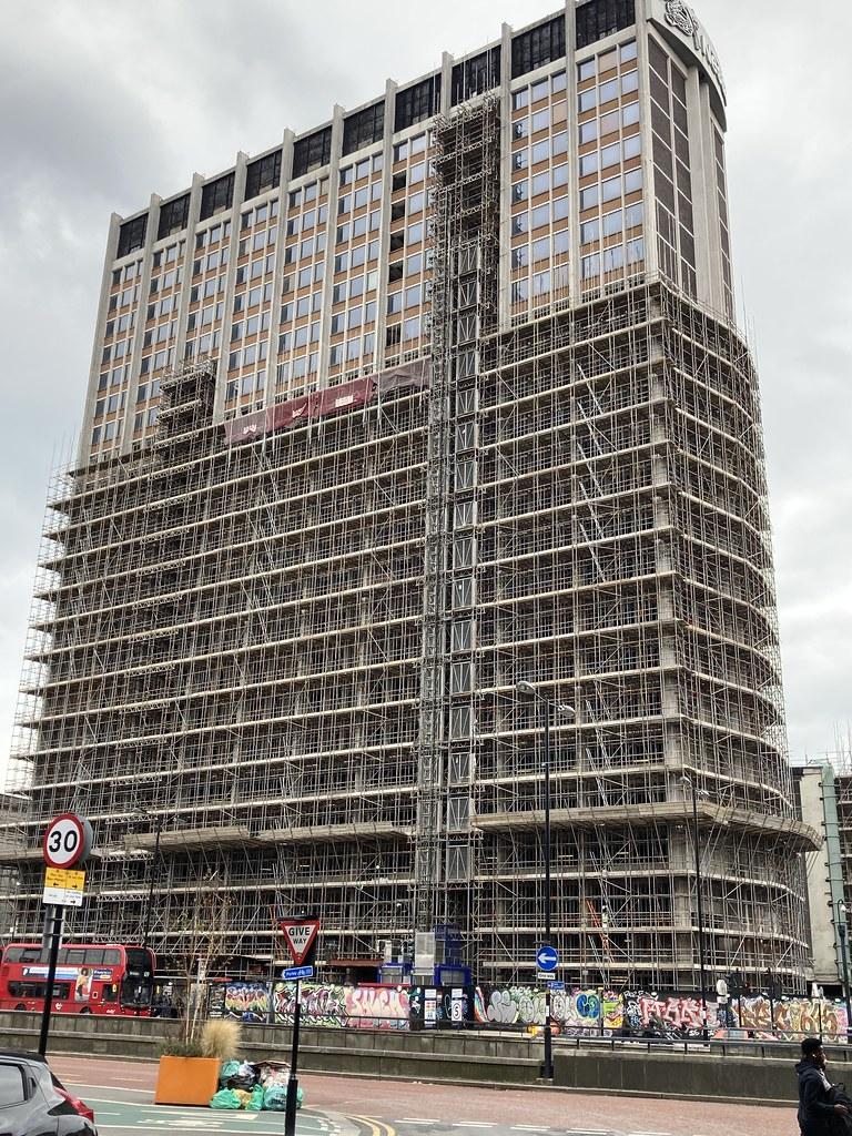 Old Nestle building under scaffolding