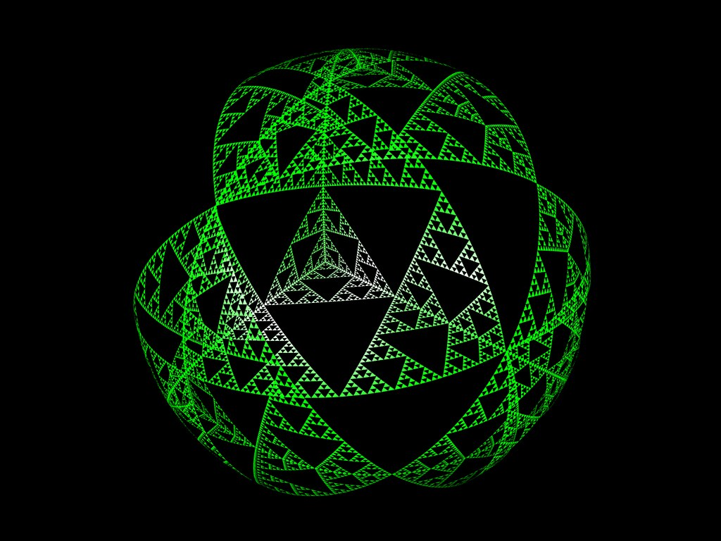 Tetrahedron based Sierpinski sphere iteration #7