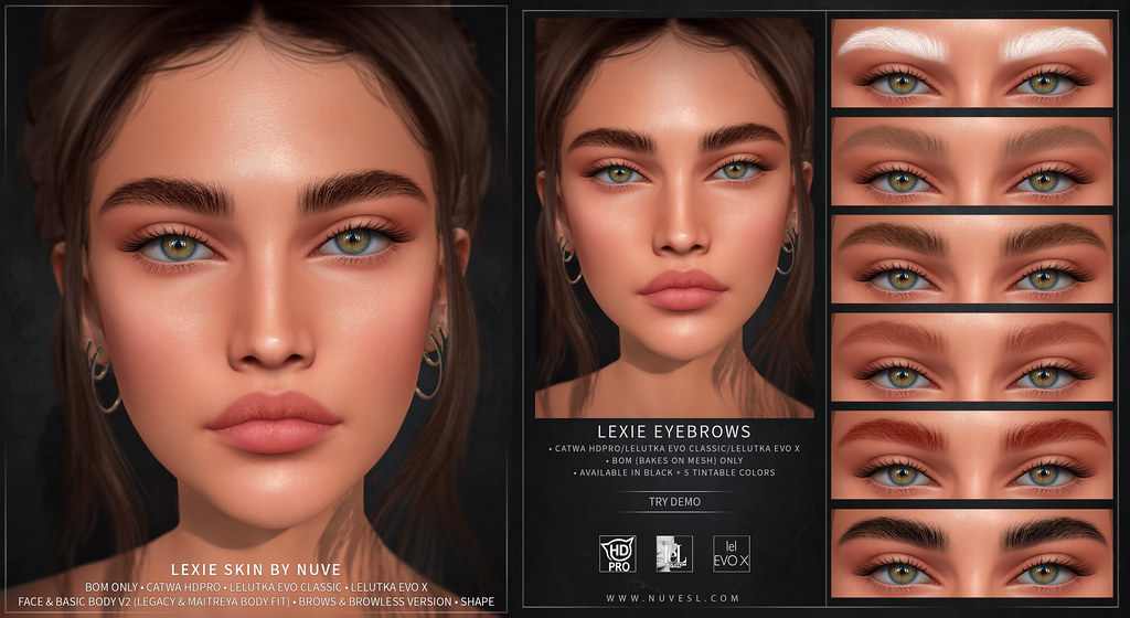 Lexie skin + brows – Catwa HDPRO/Lelutka Evo Classic/Lelutka Evo X