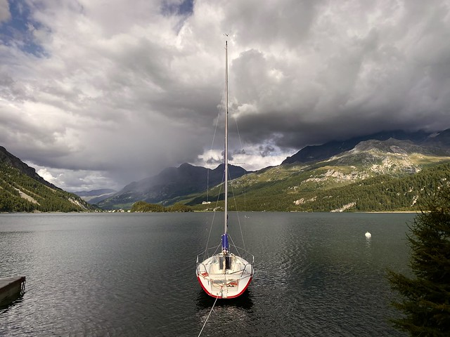 At the Sils lake, just before a storm