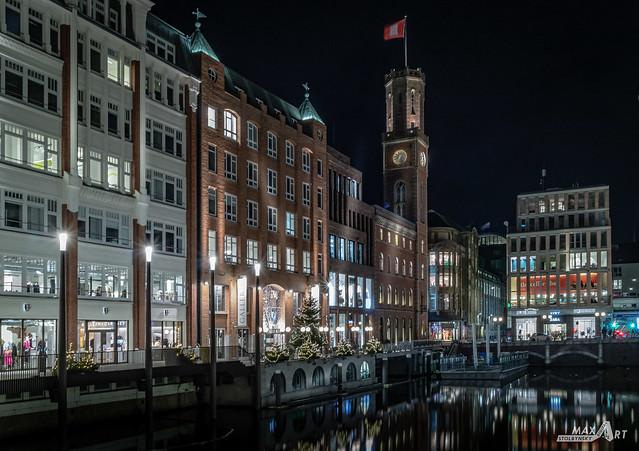 Hamburg, Germany - Dec 23, 2019: Christmas in Hamburg