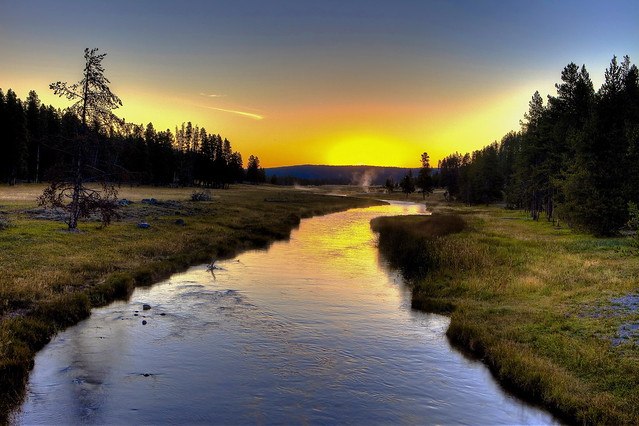 Nez Perce Creek in the Morning, Yellowstone National Park, Wyoming, USA