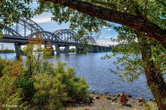 Autumn Fishing Near the Bridge