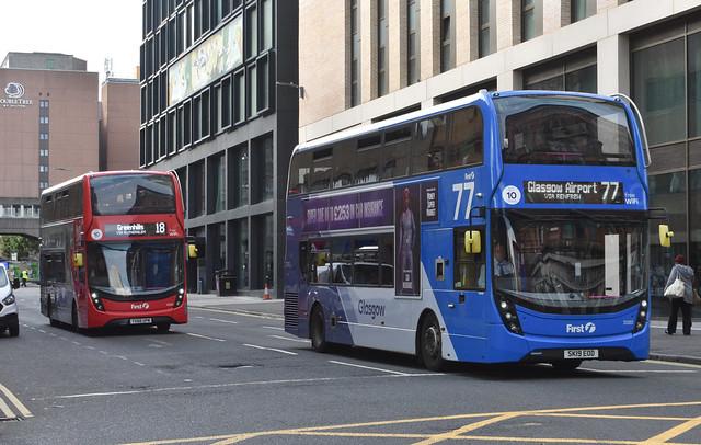 First Glasgow Alexander Dennis Enviro 400 MMC`s 33407 and 33223