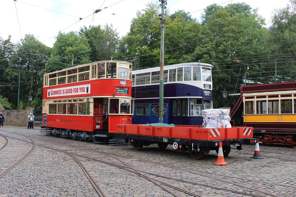 Croydon Tramlink flat bed trailer 061, London Passenger Transport Board No. 1622 and London County Council No. 1, at the Crich Tramway Village Tram Day - 18 September 2021.