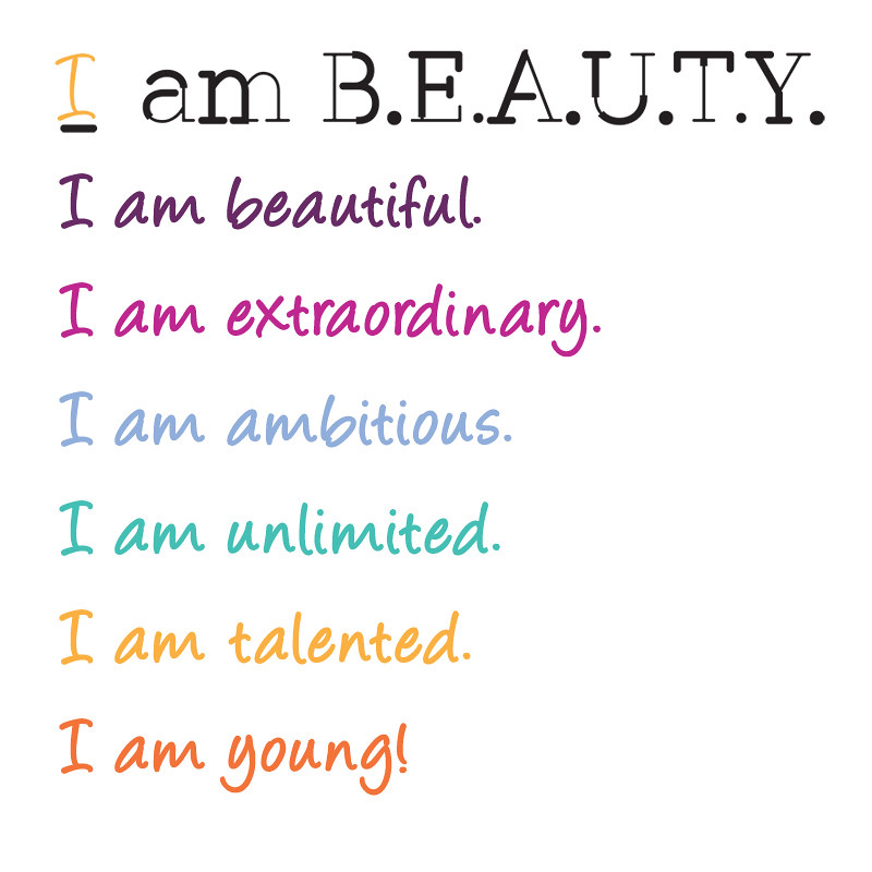 I am Beauty colors and affirmation