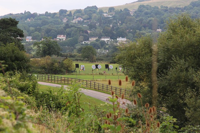 Cheltenham Archery club in action with Cleeve Hill as the background 18th September 2021 ©