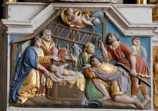 Adoration des bergers, église gothique Notre-Dame de Croaz Batz, Roscoff, Pays de Léon, Finistère, Bretagne, France