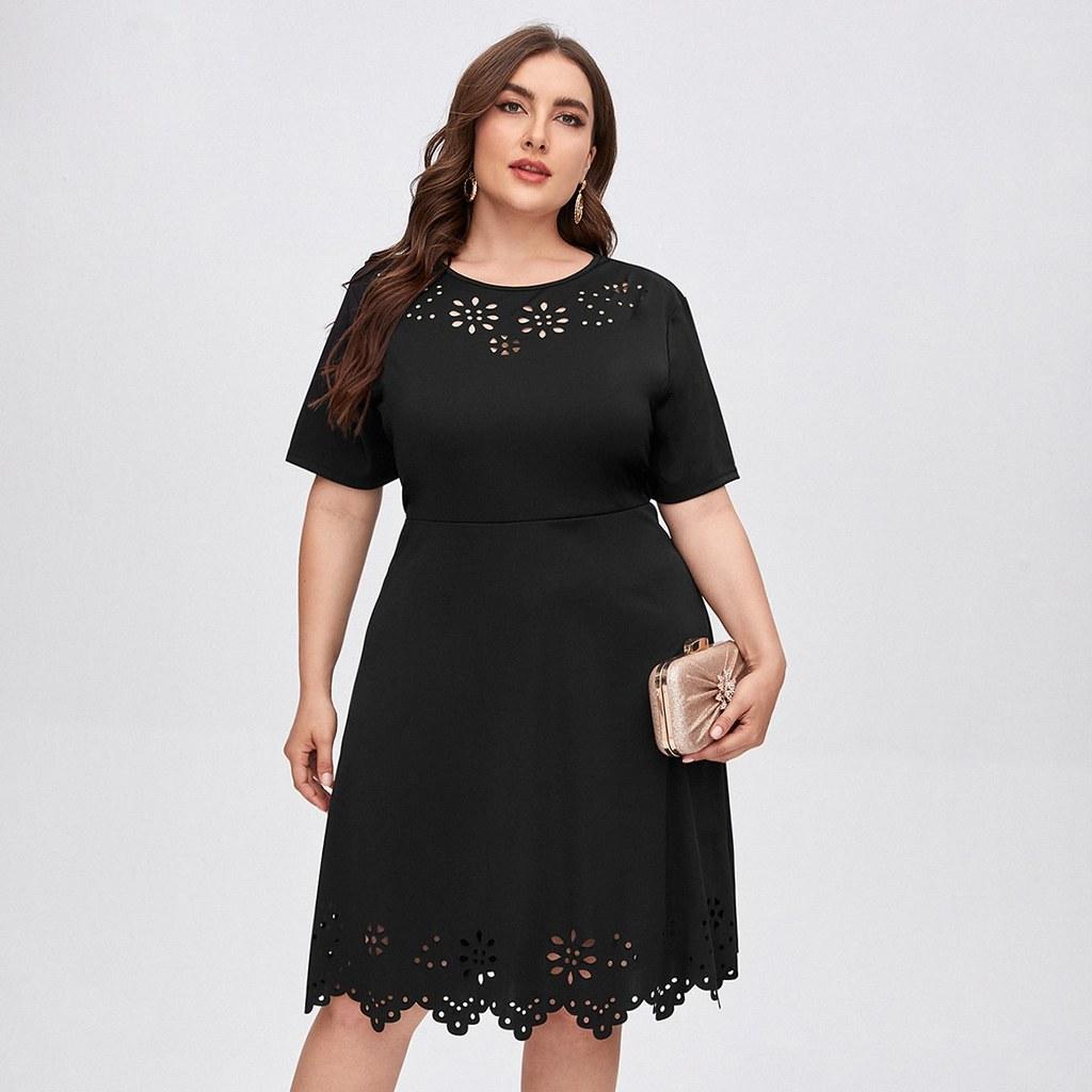 Wonderful plus laser cut front a-line dress