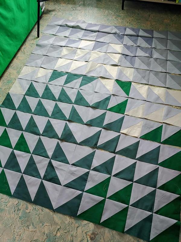 Laying out the quilt top