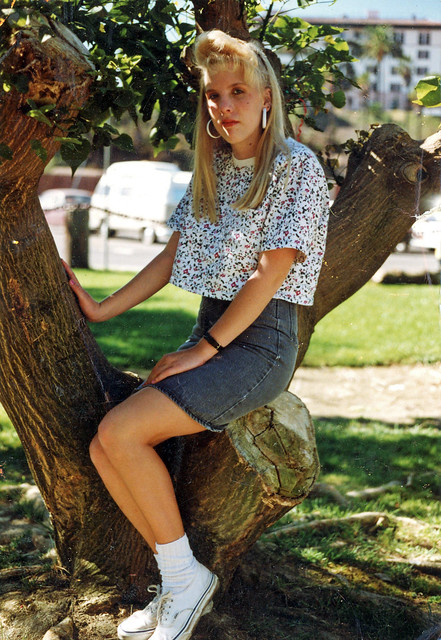 Found Photo of Girl Sitting in Tree, 1990