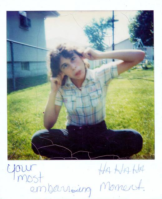 Polaroid Photo of Girl Making Faces, c. 1980