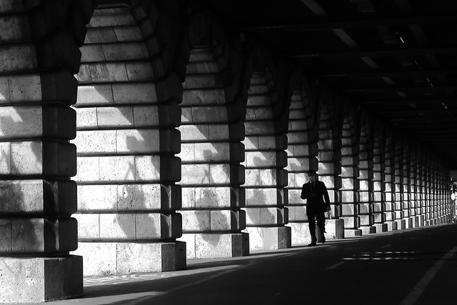 Along the striped arches