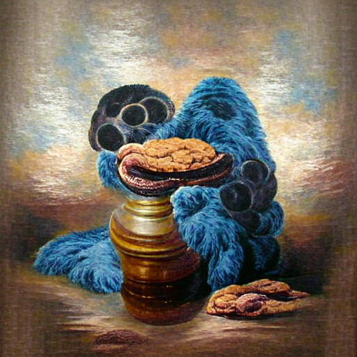 'an oil on canvas painting of Cookie Monster' MSE Regulized Modified Text-to-Image
