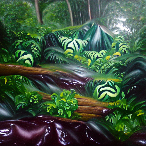 'an oil on canvas painting of a lush rainforest' MSE Regulized Modified Text-to-Image