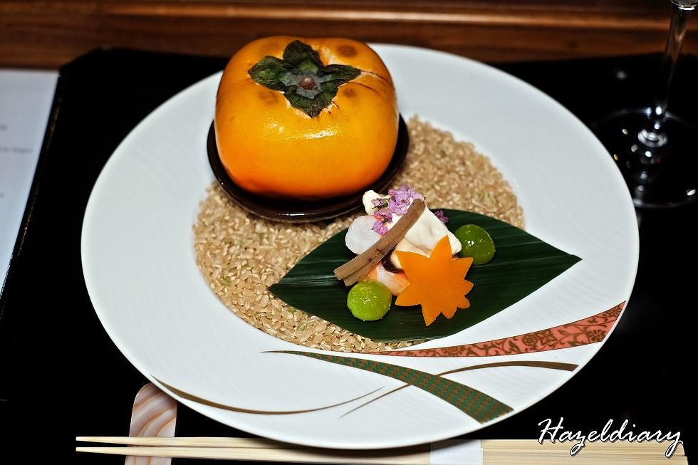 SAKEMARU Artisan Sake- Persimmon and Tiger Shrimp with Dashi Broth Jelly