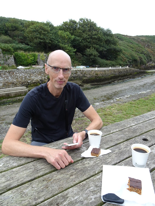 Phil with coffee and flapjack, Porthclais