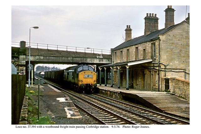 Corbridge. No. 37.194 passing through with a freight train. 9.5.74