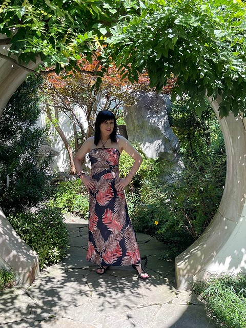 Wearing one of my favorite maxi dresses and comfy sandals on a lovely summer day