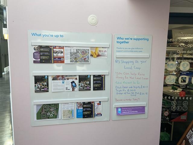 Co-op, Hillhead Student Village, Aberdeen - community board
