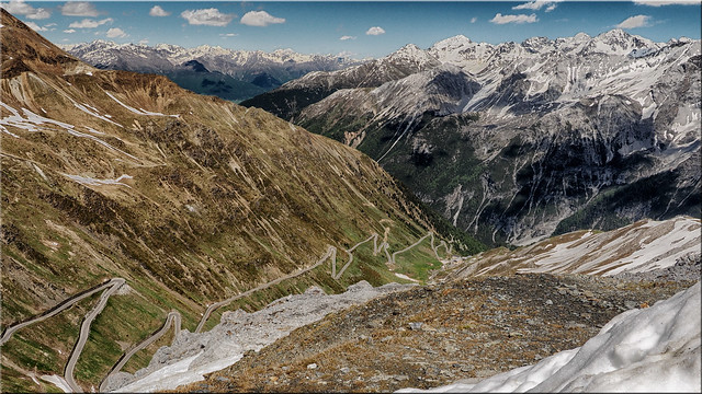 View from the Stelvio Pass to the South Tyrolean mountains