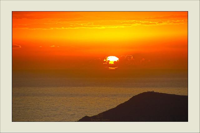Sunsetting Behind Thirasia, Imerovígli, Santorini, Greece