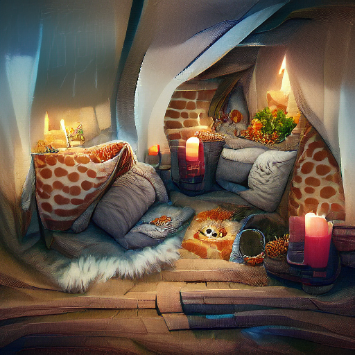 'a cozy den' MSE Regulized Modified Text-to-Image